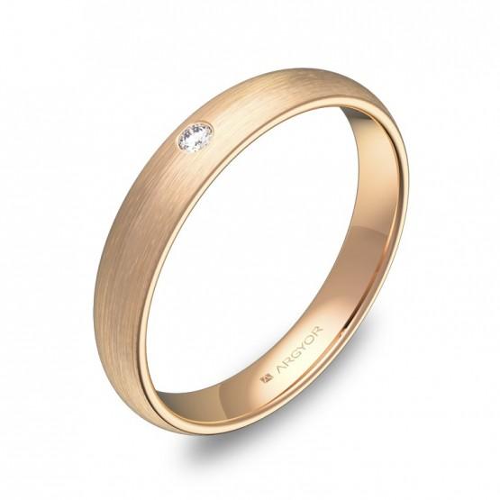 Alianza de 3,5mm en oro rosa satinado con diamante A0135S1BR