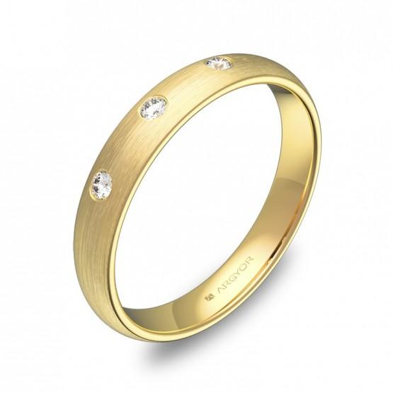 Alianza de oro amarillo satinado 3,5mm con diamantes A0135S3BA
