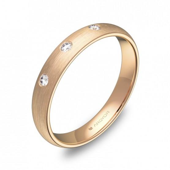 Alianza de media caña 3,5mm en oro rosa con diamantes A0135S3BR