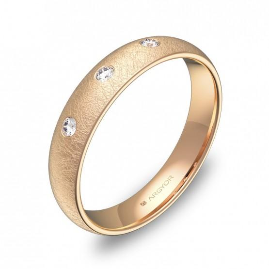 Alianza de oro rosa hielo 4,0mm con diamantes A0140H3BR