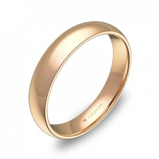 Alianza de media caña gruesa 4,0mm en oro rosa pulido A0140P00R