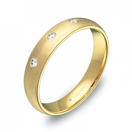 Alianza de media caña gruesa en oro satinado con diamantes A0140S3BA