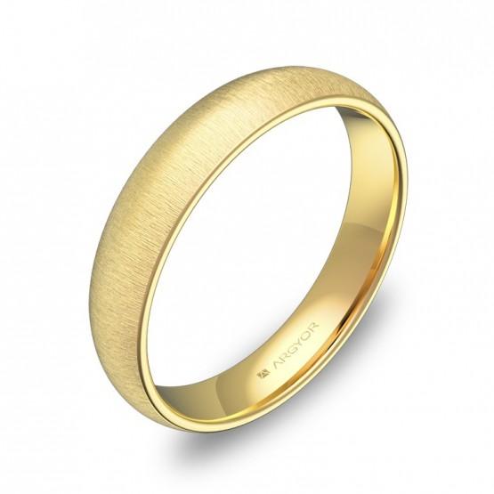 Alianza de media caña gruesa 4,0mm en oro amarillo rayado A0140T00A