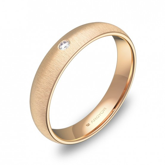 Alianza de media caña gruesa 4mm en oro rosa con diamante A0140T1BR