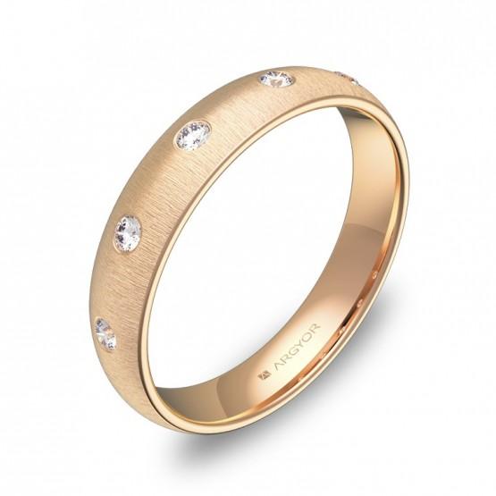 Alianza de 4,0mm en oro rosa rayado con diamantes A0140T5BR