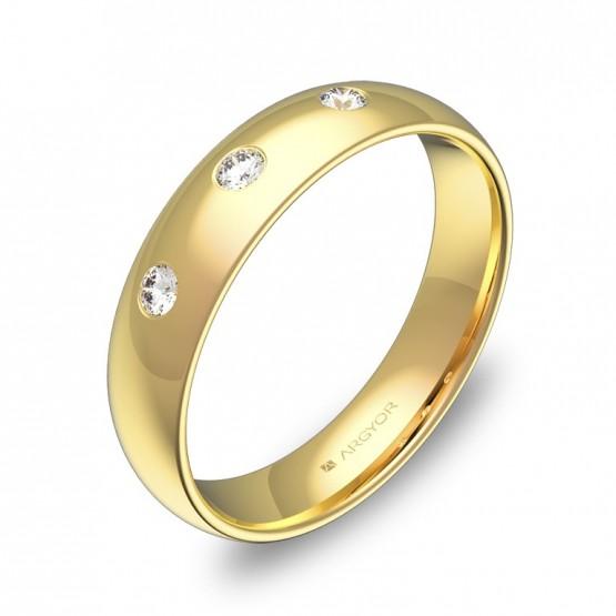 Alianza de boda 4,5mm en oro amarillo pulido con diamantes A0145P3BA
