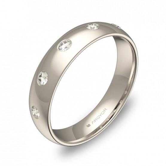 Alianza de 4,5mm en oro blanco pulido con diamantes A0145P5BB