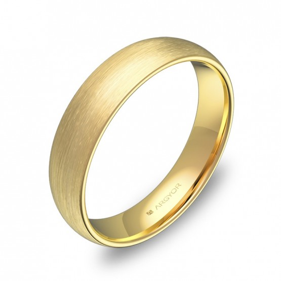 Alianza de media caña gruesa 4,5mm en oro amarillo satinado A0145S00A