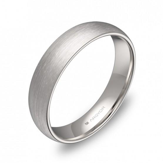 Alianza de boda de media caña gruesa de oro blanco satinado A0145S00B