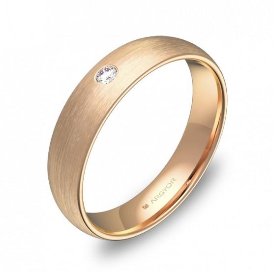 Alianza de boda de 4,5mm en oro rosa satinado con diamante A0145S1BR