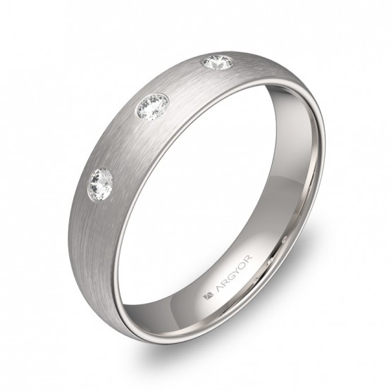 Alianza de boda de 4,5mm en oro blanco con diamantes A0145S3BB