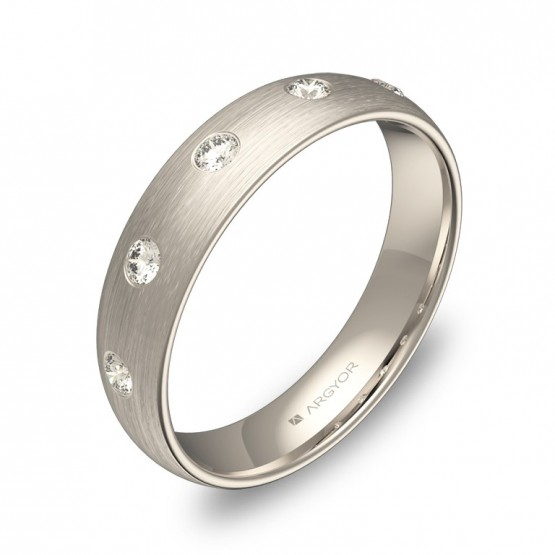 Alianza de boda 4,5mm en oro blanco satinado con diamantes A0145S5BB