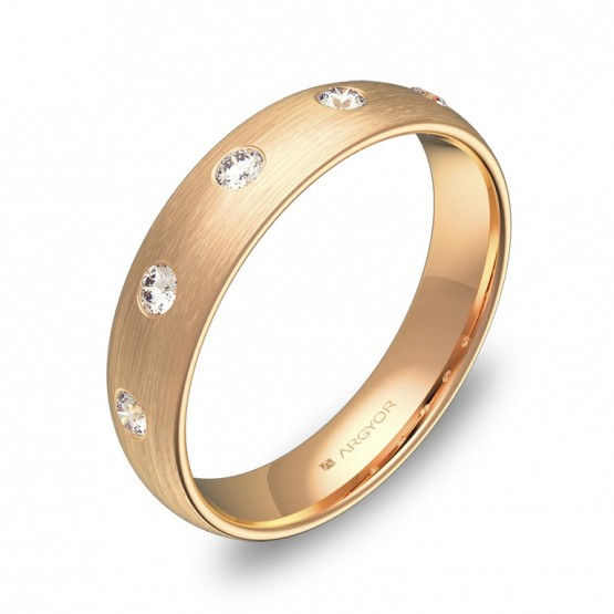 Alianza de boda 4,5mm en oro rosa satinado con diamantes A0145S5BR