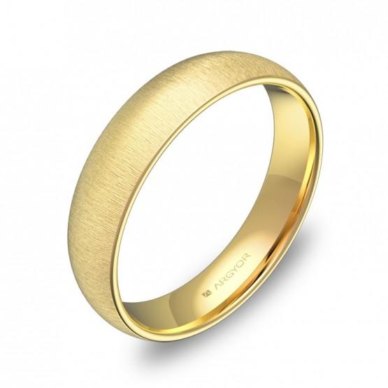 Alianza de boda de 4,5mm en oro amarillo rayado A0145T00A