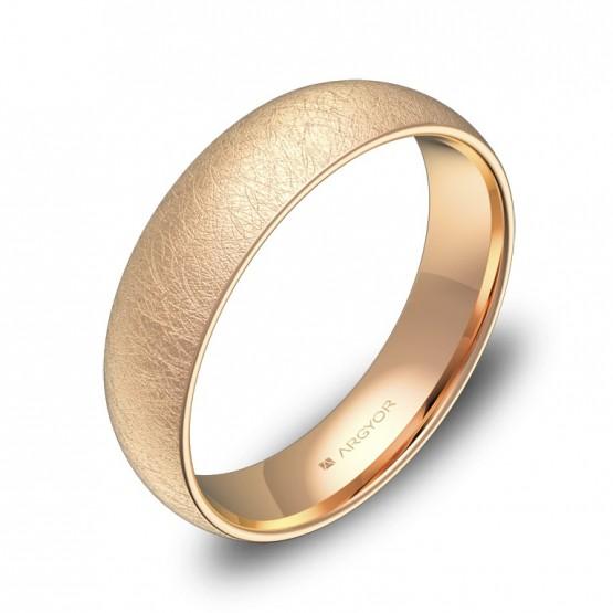 Alianza de boda de media caña gruesa en oro rosa hielo A0150H00R