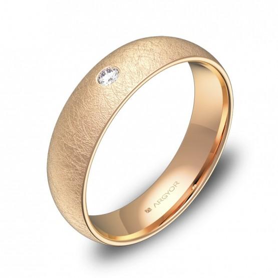 Alianza de boda de 5,0mm en oro rosa hielo con diamante A0150H1BR