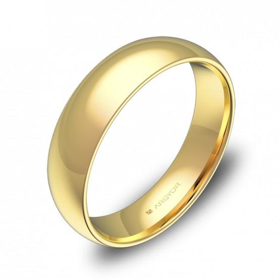 Alianza de boda oro amarillo pulido media caña gruesa 5mm A0150P00A