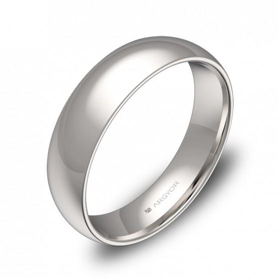 Alianza de boda de media caña gruesa en oro blanco pulido A0150P00B