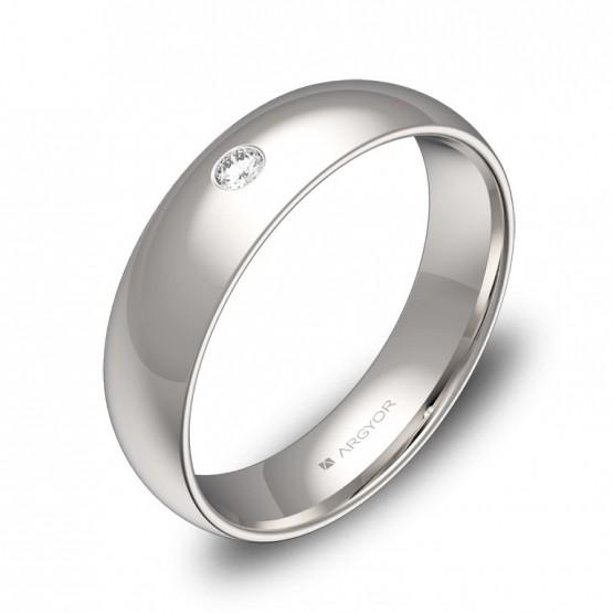 Alianza de boda de media caña en oro blanco con diamante A0150P1BB