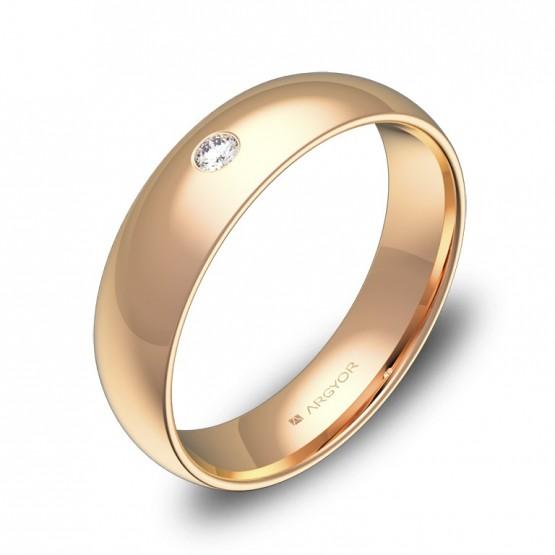 Alianza de media caña gruesa 5mm en oro rosa con diamante A0150P1BR