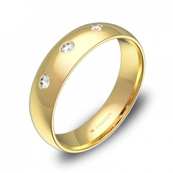 Alianza de boda 5,0mm de oro pulido 3 diamantes A0150P3BA