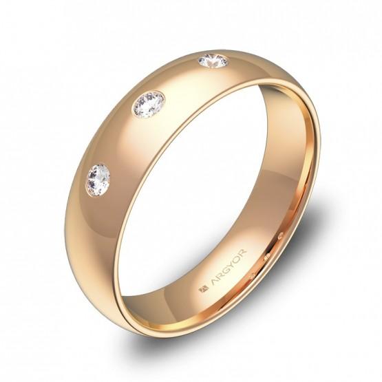 Alianza de boda de media caña oro rosa pulido 3 diamantes A0150P3BR