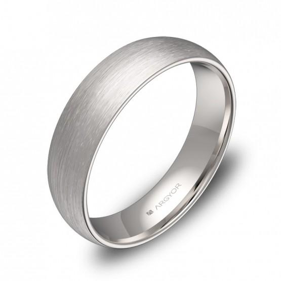 Alianza de boda de 5,0mm en oro blanco satinado A0150S00B