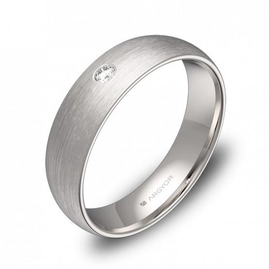 Alianza de boda de oro blanco satinado con diamante A0150S1BB