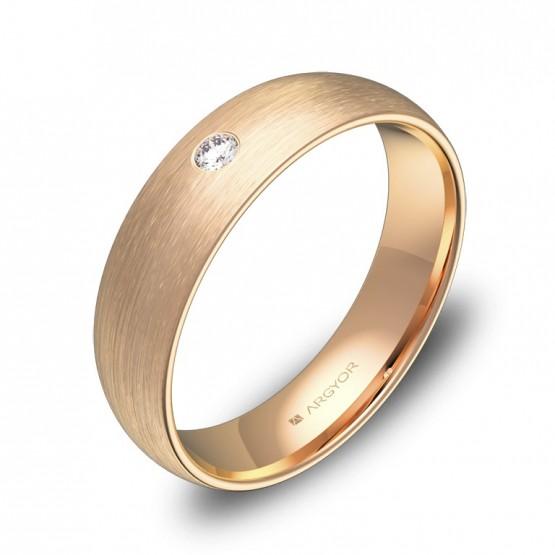 Alianza de media caña gruesa oro rosa con diamante A0150S1BR