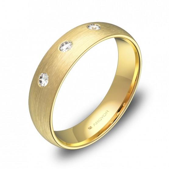 Alianza de boda oro amarillo media caña gruesa 3 diamantes A0150S3BA