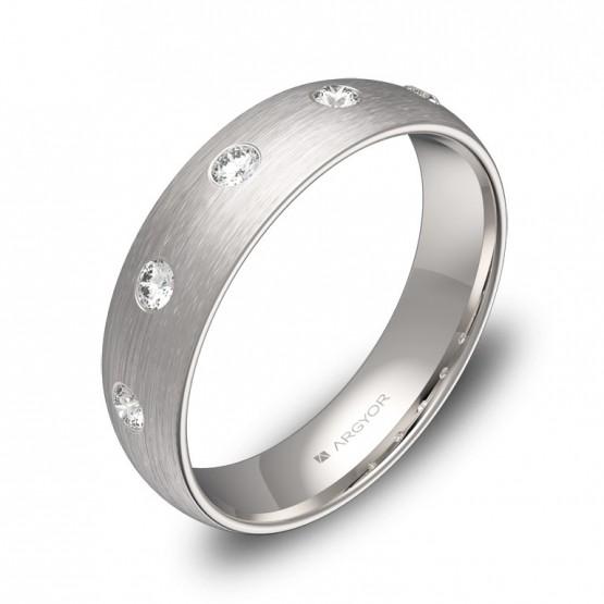 Alianza de media caña gruesa 5,0mm oro blanco con diamantes A0150S5BB