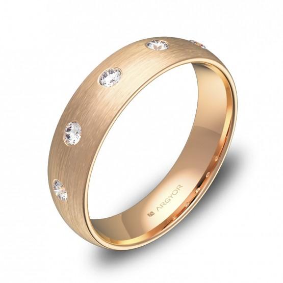 Alianza de media caña en oro rosa satinado con diamantes A0150S5BR