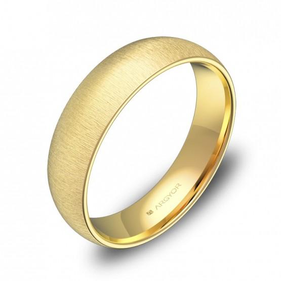 Alianza de boda de media caña gruesa en oro amarillo rayado A0150T00A