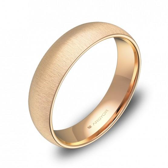 Alianza de media caña gruesa 5,0mm en oro rosa rayado A0150T00R