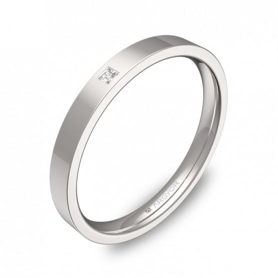 Alianza de boda en oro blanco pulido con diamante B0125P1PB