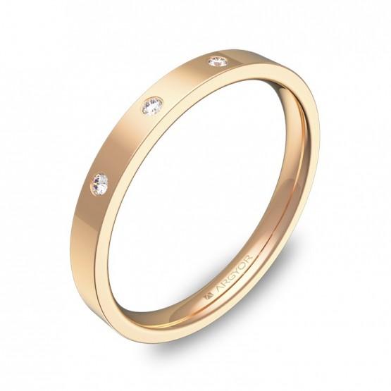 Alianza de boda  2,5mm en oro rosa pulido con diamantes B0125P3BR