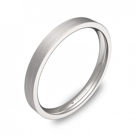 Alianza de boda plana gruesa 2,5mm en oro blanco satinado B0125S00B