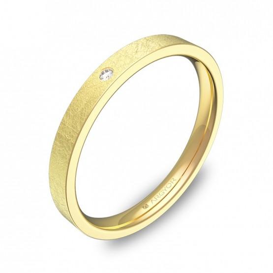 Alianza de boda en oro amarillo con 1 diamante B0125H1BA