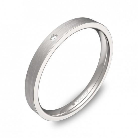Alianza de boda de oro blanco plana gruesa 2,5mm y diamante B0125S1BB