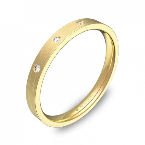 Alianza de boda en oro satinado. Plana gruesa con diamantes B0125S3BA