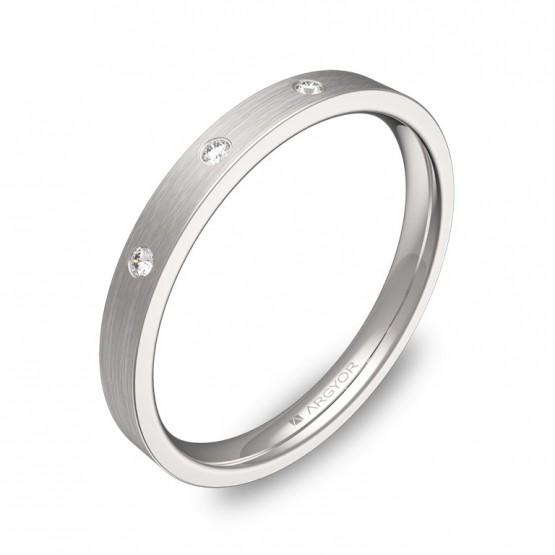 Alianza de boda  2,5mm en oro blanco con diamantes B0125S3BB