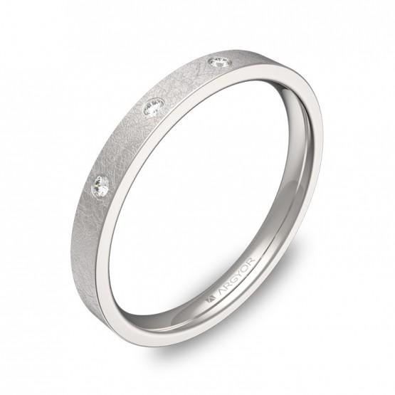 Alianza de boda de oro blanco hielo 2,5mm con diamantes B0125H3BB