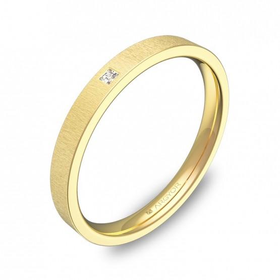 Alianza de boda 2,5mm oro amarillo rayado con diamante B0125T1PA