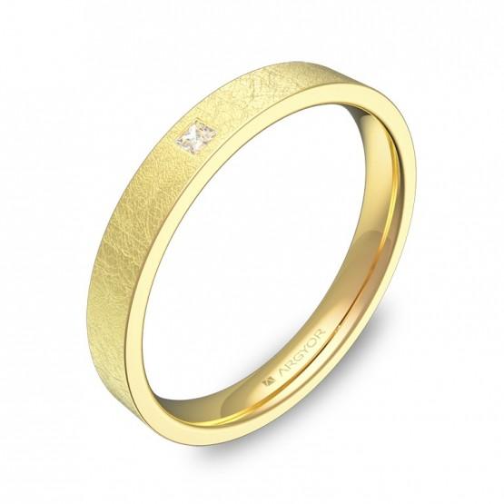 Alianza de boda en oro amarillo plana gruesa con diamante B0130H1PA