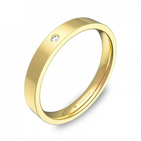 Alianza de boda 3,0mm en oro amarillo pulido con diamante B0130P1BA