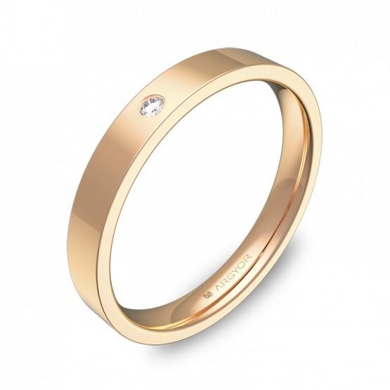 Alianza de boda plana gruesa en oro rosa con diamante B0130P1BR