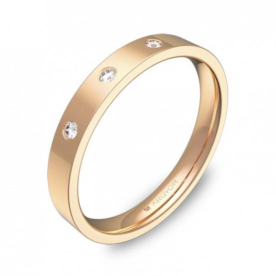 Alianza de boda oro rosa plana gruesa con diamantes B0130P3BR
