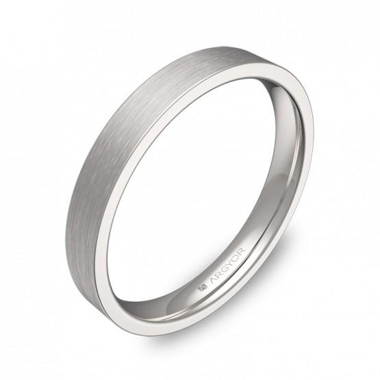 Alianza de boda plana gruesa 3,0mm en oro blanco satinado B0130S00B
