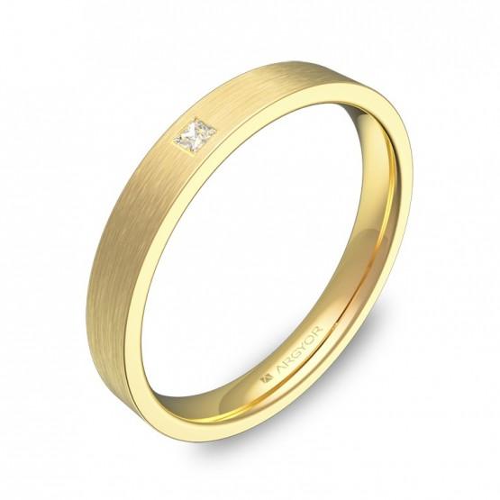 Alianza de boda 3mm en oro amarillo satinado con diamante B0130S1PA