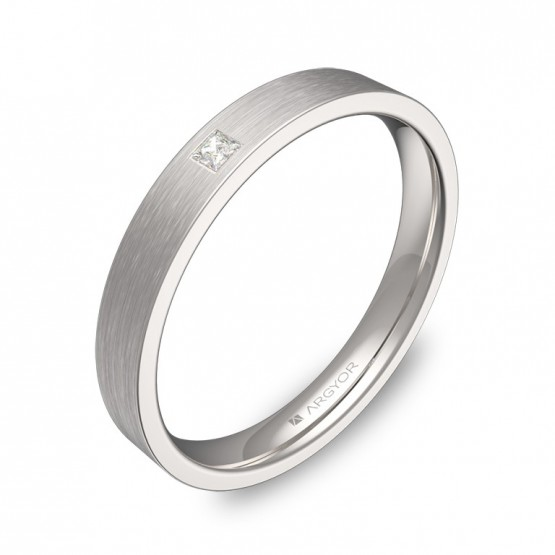 Alianza de boda en oro blanco satinado con diamante B0130S1PB